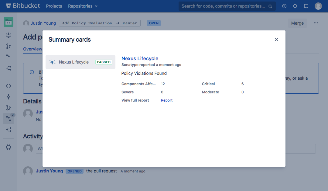 screenshot of Sonatype Nexus Lifecycle report