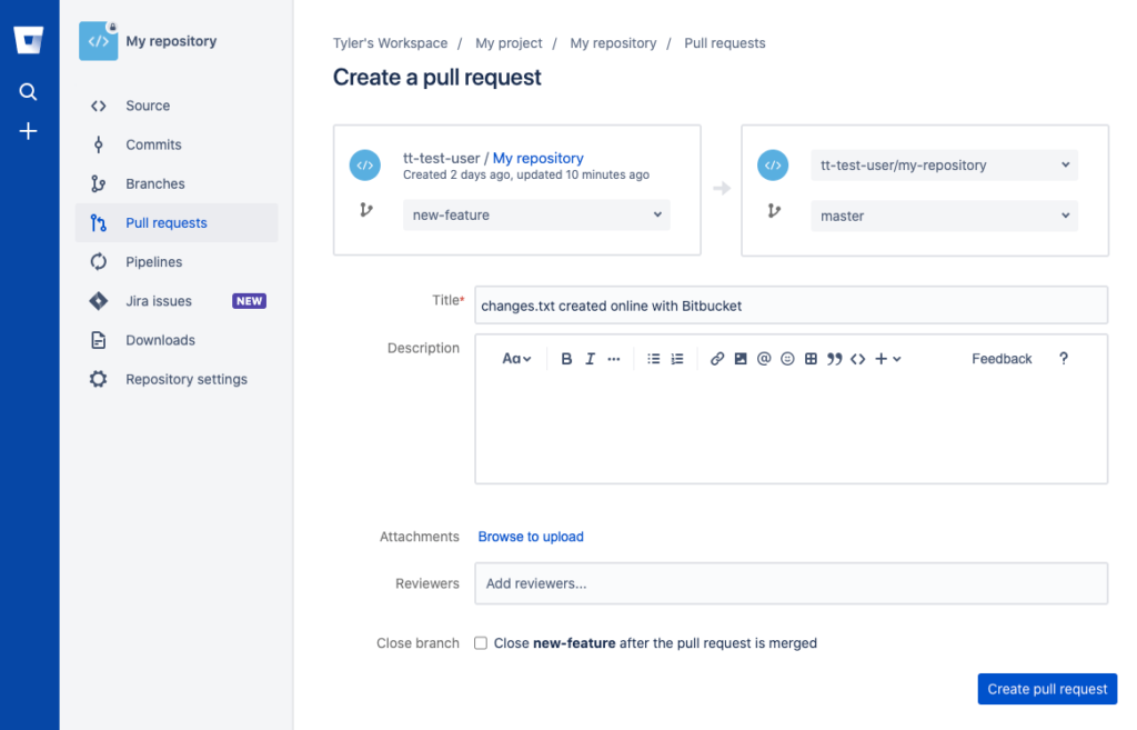The create pull request view in Bitbucket Cloud