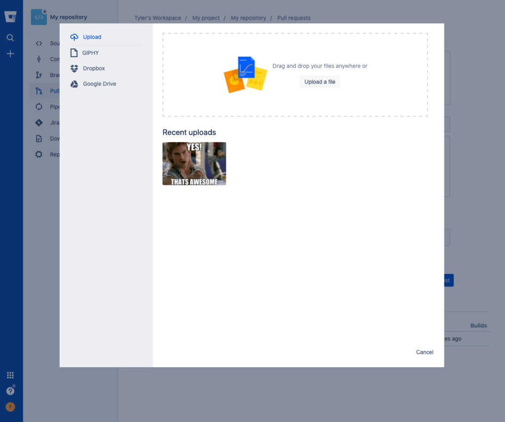 The create pull request view in Bitbucket Cloud with the Media Picker open