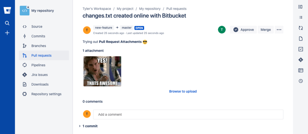 A pull request in Bitbucket Cloud with a single attachment